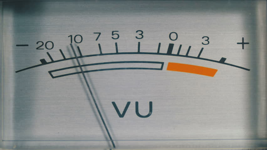 Dial Indicator Gauge Signal Level Meter. Analog signal indicator. Dial gauge modes Tape Recorder. Close-up. White of the pointer, black numbers, and arrow. | Shutterstock HD Video #1010096312