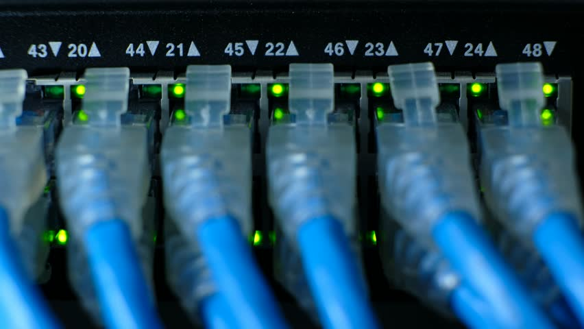 Network cable connecting on Network gigabit switch and LED port status is blink. UTP port cat6 for high speed network in data server room. close up and selective focus | Shutterstock HD Video #1010104412