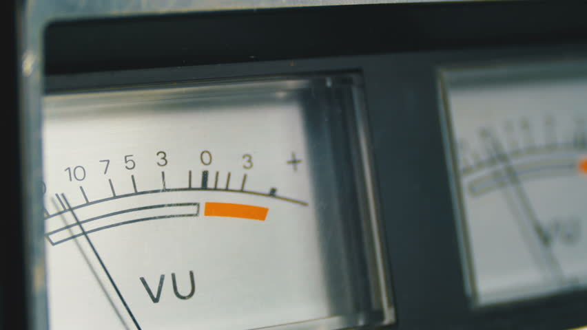 Analog signal indicator. Dial Indicator Gauge Signal Level Meter. Dial gauge modes Tape Recorder. Close-up. White of the pointer, black numbers, and arrow. | Shutterstock HD Video #1010111282