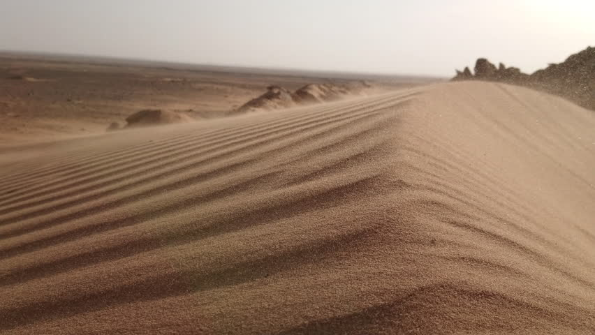 4K Strong Wind in the desert Blows Fine Sand
