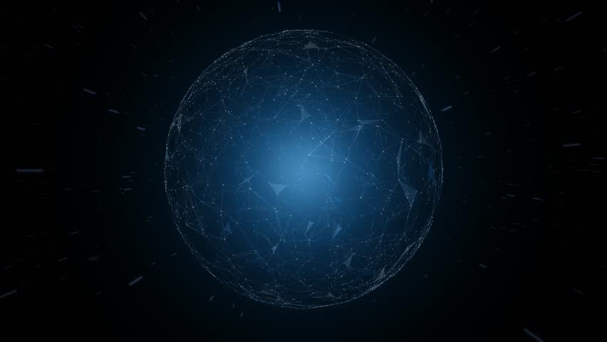 Futuristic network sphere motion with stars travel.  | Shutterstock HD Video #1010126972