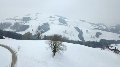 AERIAL WS POV Landscape in winter / Neustift, Upper Austria, Austria