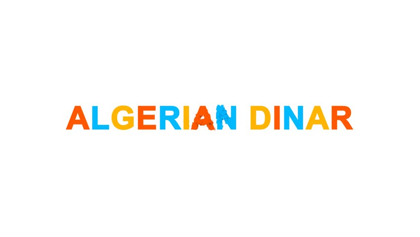 Currency name ALGERIAN DINAR from letters of different colors appears behind small squares. Then disappears. Alpha channel Premultiplied - Matted with color white