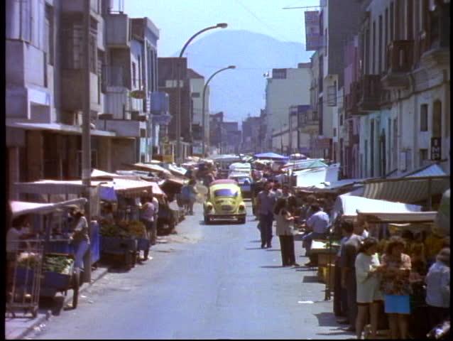 PERU, 1998, Lima, street scene with traffic