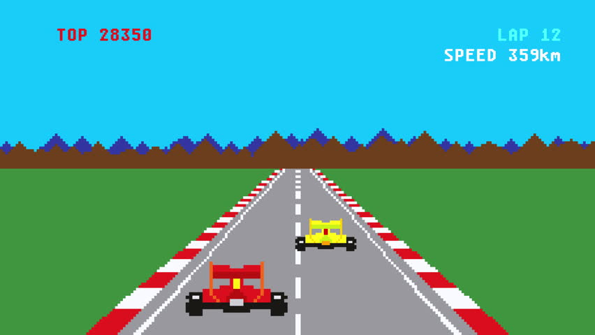 Retro pixel art style race car video game cartoon animation #1010258582