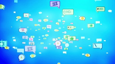 A cheerful 3d rendering of social media bubbles flying directly. They look like hilarious emoticons, pens, thumb up gestures, symbols in the bright sky blue background. Loopable.