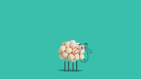 Sheep made of cotton balls standing and blinking. Creative concept of mixing real objects and computer graphic. Looped animation.