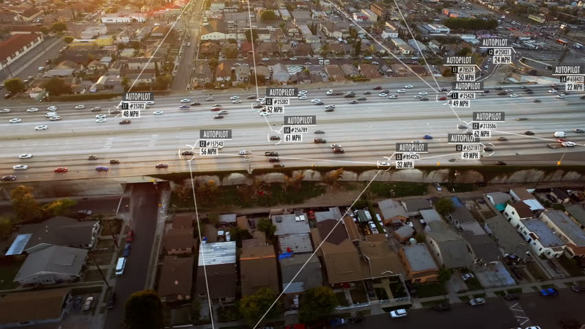 Connected driverless or autonomous car aerial view. Traffic passing. Blurred and fake driver and car information displaying. Future transportation. Internet of things. Artificial intelligence. | Shutterstock HD Video #1010301512