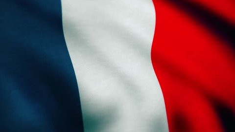France Flag - looping, waving, A beautiful finish looping flag animation of France. Fully digital rendering using the official flag design, full frame composition. A beautiful satin finish looping