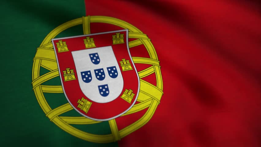A beautiful satin finish looping flag animation of Portugal. Portugal flag animation stock footage. Portugal Country flag animation waving in the breeze with cotton texture and in close up