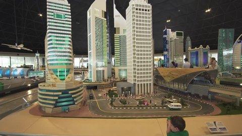 Dubai, UAE - April 01, 2018: Exhibition of mock-ups skyscrapers of Dubai made of Lego pieces in Miniland Legoland at Dubai Parks and Resorts stock footage video
