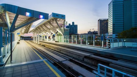 Kaohsiung, Taiwan - April 13 : View of light rail tram and the skyline in Kao