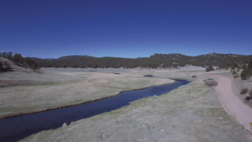 An aerial view of the South Platte River in Colorado.