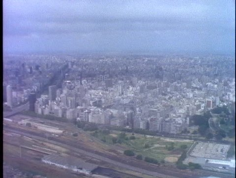 ARGENTINA, 1998, Aerial of Buenos Aires, flight taking off, Buenos Aires, below