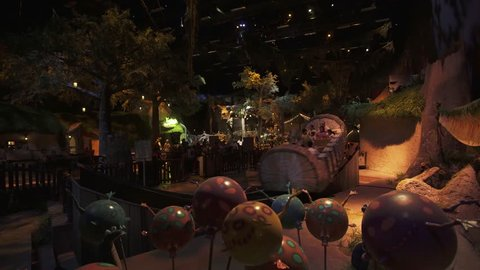 Dubai, UAE - April 01, 2018: Territory of the amusement Shrek in DreamWorks in Motiongate at Dubai Parks and Resorts stock footage video