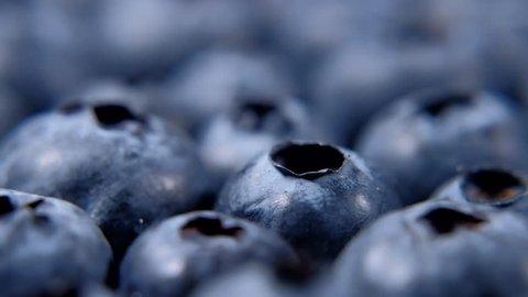 Detail of Blueberries. Macro trucking shot. 4K resolution