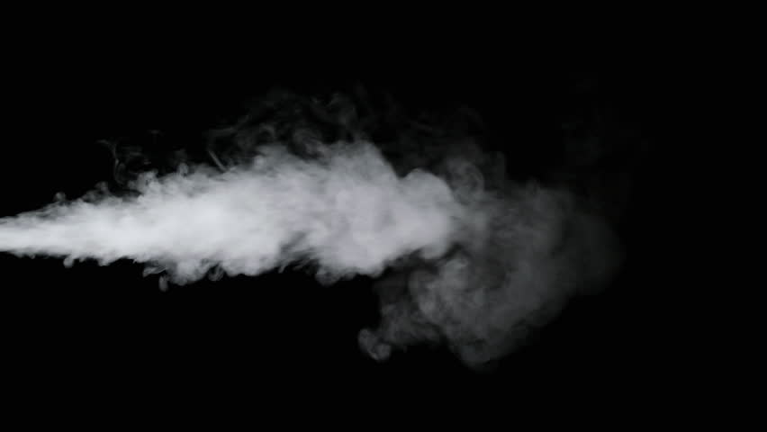 White water vapour on a black background. Close-up shot