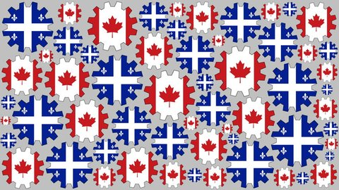 Canadian and Quebec province flag gears rotating background