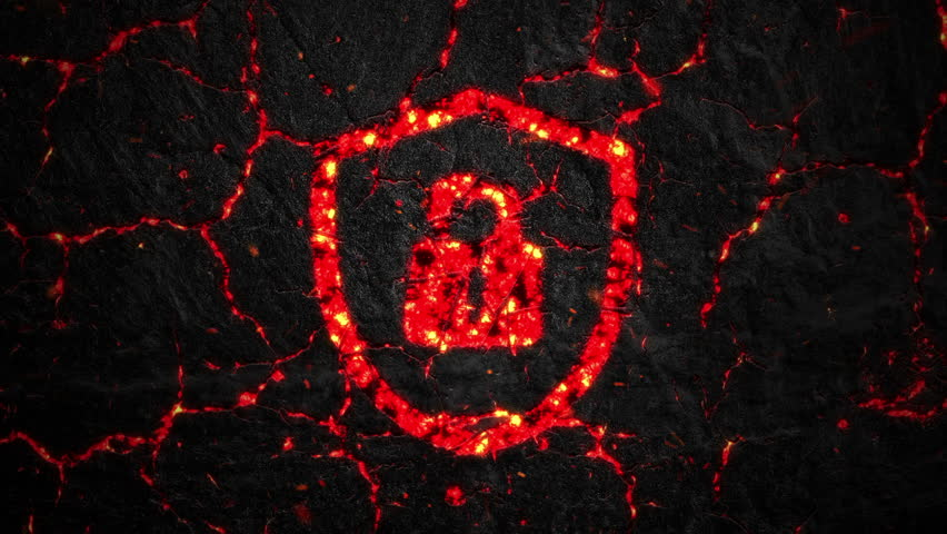 Abstract background with animation of burning fire or lava cracks from shield symbol on stone surface and flying glowing particles. Animation of seamless loop.   Shutterstock HD Video #1010422562