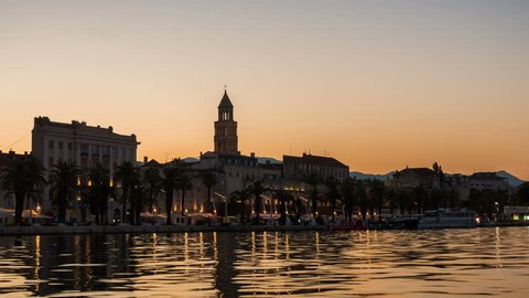 Time Lapse of Split Old town, Croatia - Split is the second-largest city of Croatia, the largest city of the region of Dalmatia and the travel destination with historic center of Croatia cultures.