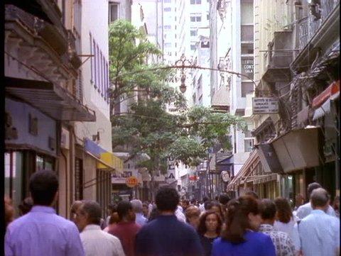 BRAZIL, 1998, Rio de Janerio, downtown business district, crowd, pedestrian mall