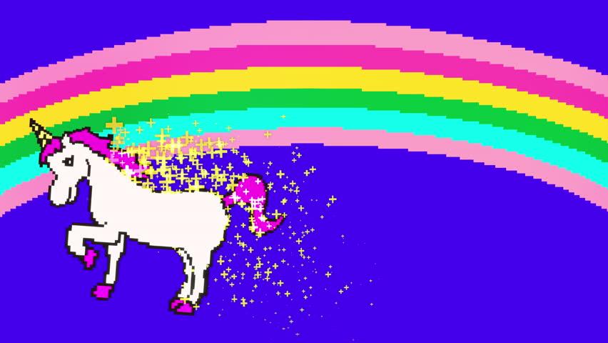Retro pixel art style rainbow unicorn cartoon animation  | Shutterstock HD Video #1010458682
