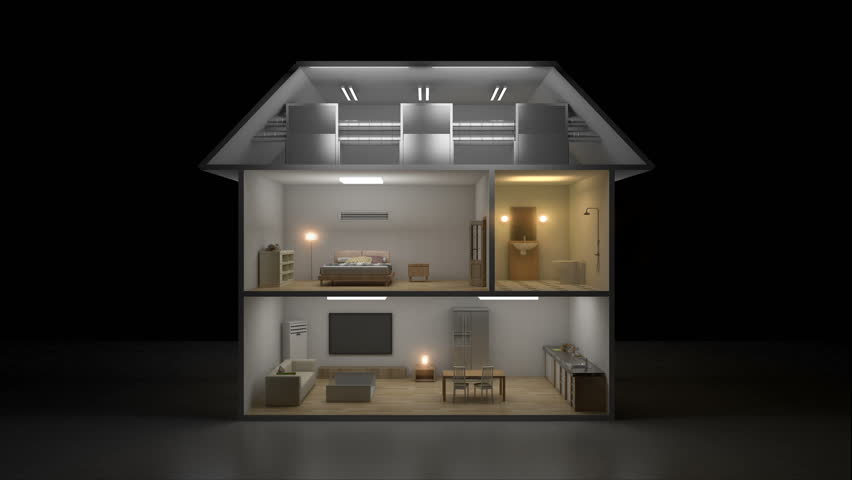 3D IoT House light on-off energy saving efficiency control, Smart home appliances,  internet of things. 4k movie. | Shutterstock HD Video #1010463872