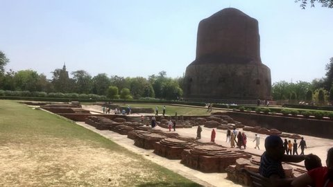 Varanasi / India 25 March 2018  Dhamek stupa is one of the oldest buddhist structures in India Situated  at Sarnath in Varanasi  Uttar Pradesh India