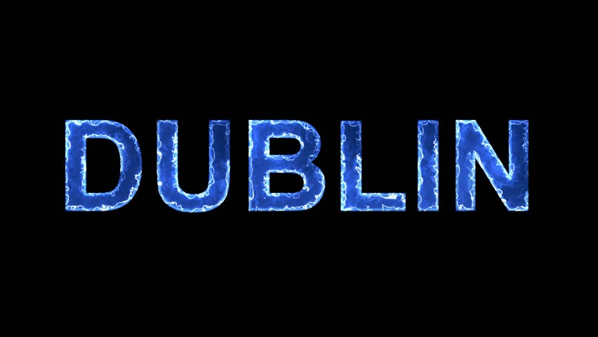 Blue lights form luminous capital name DUBLIN. Appear, then disappear. Electric style. Alpha channel Premultiplied - Matted with color black   Shutterstock HD Video #1010544692