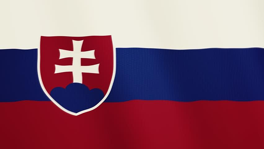 Slovakia flag waving animation. Full Screen. Symbol of the country.