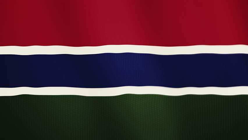 Gambia flag waving animation. Full Screen. Symbol of the country.
