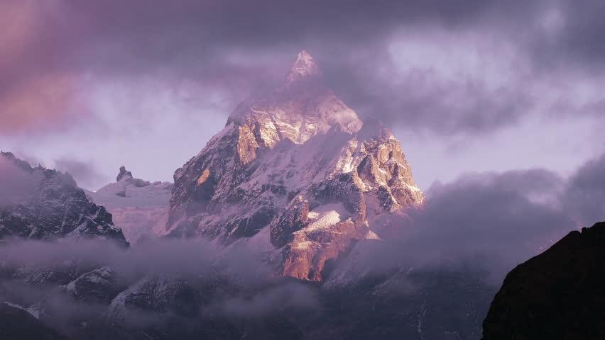 Magnificent view of Machermo peak (6273 m) at sunrise. Nepal, Himalaya mountains.