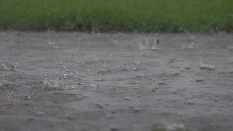 Amazing slow motion closeup of heavy rain falling down in the street in autumn or winter and splashing in the park.