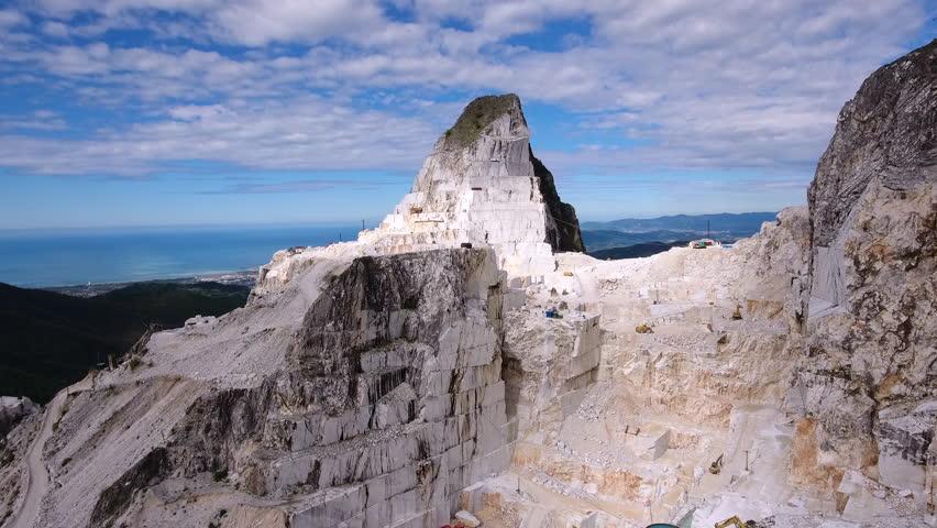 Carrara marble quarry aerial shot