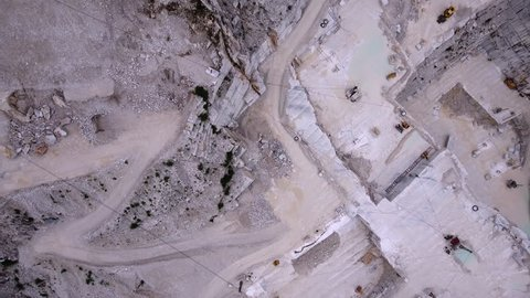 Carrara marble quarry aerial shot