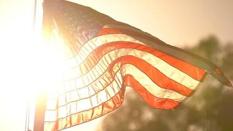 American Flag Sunset Slow Motion 120fps Loop