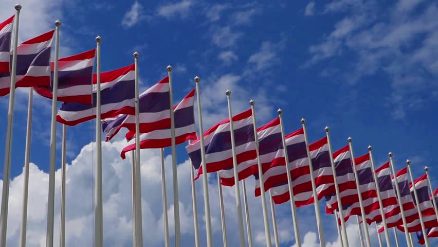 The national flags of Thailand are waving