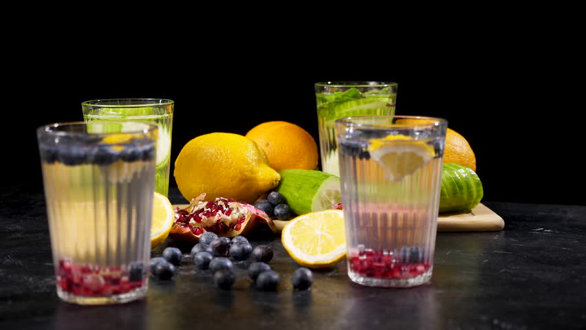 Homemade Detox Water in Stock Footage