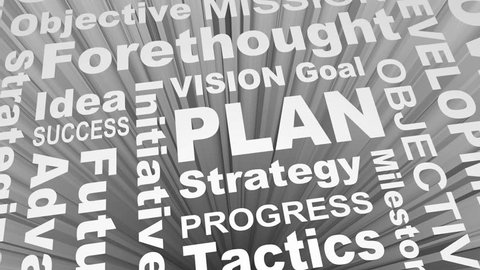 Plan Vision Strategy Word Collage 3d Render Animation