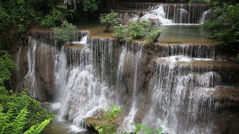 Video Huai Mae Khamin Waterfall landmark tourist of Thailand