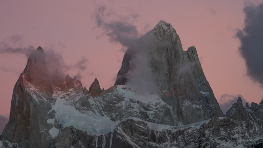 View of Mount Fitz Roy and in the National Park Los Glaciares National Park at sunrise. Autumn in Patagonia, the Argentine side