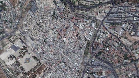 Earth Zoom In Zoom Out Jerusalem Israel
