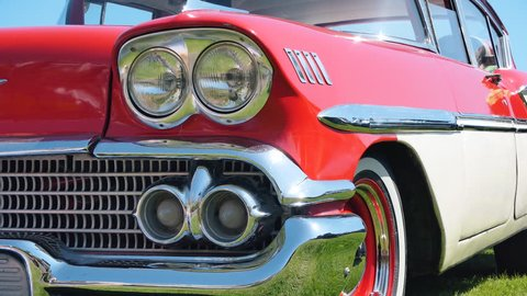 Front lights and bumper. Retro cars.