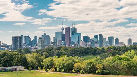 4K Timelapse Sequence of Toronto, Canada - Toronto s skyline as seen from Riverdale park