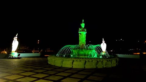 The lighting fountain in Theingottara park, located at the foot of Singuttara Hill and West Gate of Shwedagon Pagoda, Yangon, Myanmar.