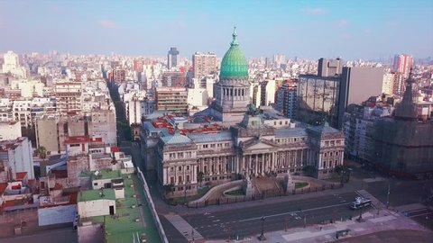Aerial footage from drone. Flight around the Congress building, city of Buenos Aires, Argentina
