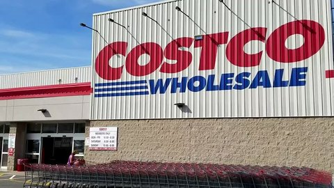 Costco wholesale retailer shopping carts, store customers, Danvers Massachusetts USA, May 5, 2018