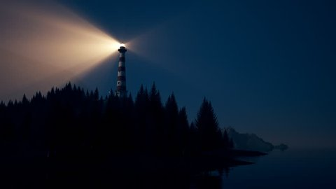 Beam of light from lighthouse rotating over the coast. Loopable animation.