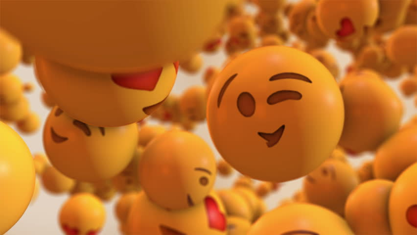 This motion graphics video will brighten anyone's day just like the emojis it features. The clip shows a big crowd of emoji with different facial expressions, flying through the air. Use in your socia #1010827892