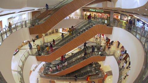Jan 2018, India, capital of Telengana State, (Andhra Pradesh), Hyderabad, interior of a modern shopping Mall